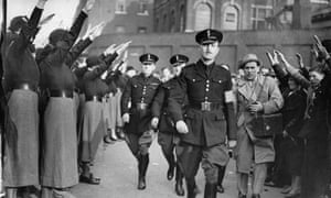 Oswald Mosley at a fascist rally in east London, 1936