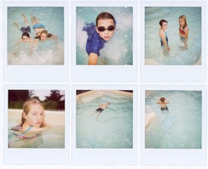 Observer Review Polaroids: Polaroids by Harry Borden of his children and friend in a swimming pool