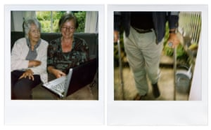 Observer Review Polaroids: Polaroids by Martin Parr of his mother using Skype and a friend on crutches