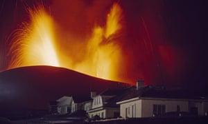 Kirkjufell volcano erupting in Vestmannaeyjar, Heimaey Island, Iceland