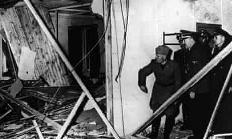 Second world war: Hitler and Mussolini in Hitler's damaged headquarters