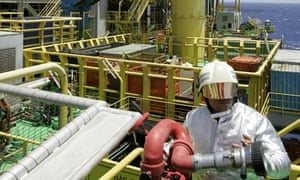 A Petrobras employee on an oil platform off Rio de Janeiro