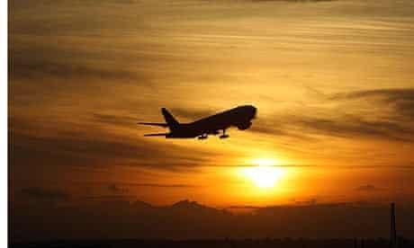 Heathrow Airport, plane takes off