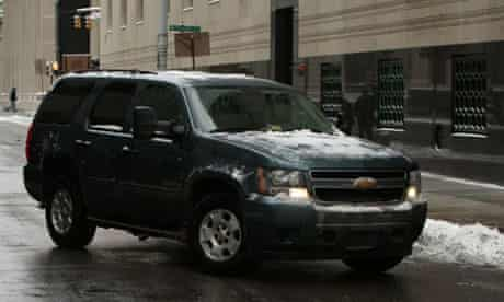 A vehicle carrying Umar Farouk Abdulmutallab arrives at a federal courthouse in Detroit. Photograph: Jeff Kowalsky/EPA