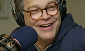 Al Franken rehearses for his radio show at Air America studios in 2004. The network is going off the air on Monday. Photograph: Ed Bailey/AP