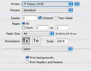 Safari print options
