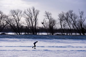 Fen skating: A competitor gets in some early morning practice before the crowds turn up