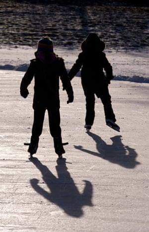 Fen skating: Plenty of local children tried it out
