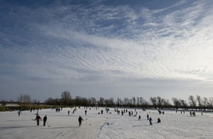 Skating on the fens: A corner of the field was given to ice hockey players