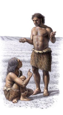 Neanderthal woman and man