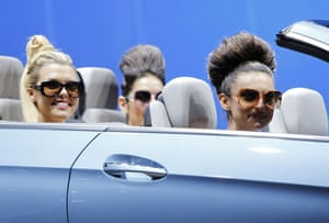 Detroit motor show: Models sit in the new Mercedes-Benz E350 convertible