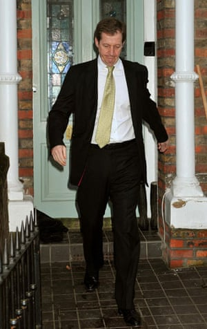 campbell at Iraq inquiry: Alastair Campbell leaves his home for Chilcot Iraq inquiry