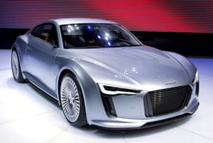 Green cars in Detroit: The Audi e-tron electric car prototype makes its world premier debut