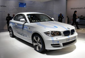 Green cars in Detroit: The BMW Concept Active E electric project car is displayed