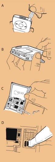 Step by step illustration of how to replace an iPod battery