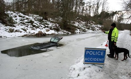 Car goes through frozen canal in Scotland