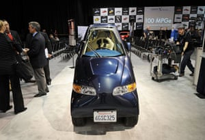 Green cars in Detroit: The Commuter Cars Tango electric car on display