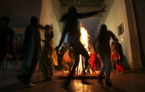 24 hours: Amritsar, India: College girls celebrate the Lohri festival