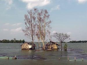 Sinking Sundarbans: Flooded homes in Kali Nagar village. 4000 people have been displaced people