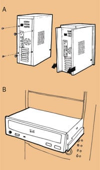 A CD and DVD drive illustration