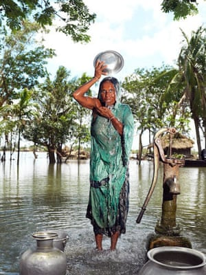 Sinking Sundarbans: a villager try to keep herself clean and fresh in Satjellia Island