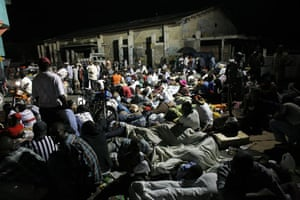 haiti update 2: Residents sleep in the street after an earthquake in Port-au-Prince