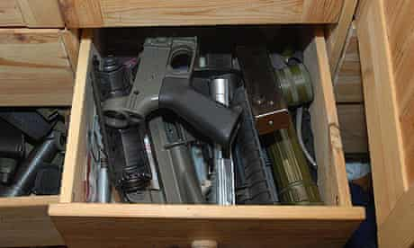 A draw of weapons found at the home of BNP member Terrance Gavan