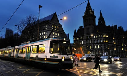 A tram in Manchester city centre