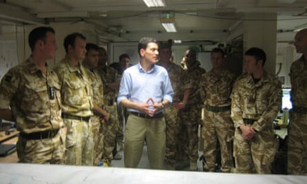 Foreign Secretary David Miliband with soldiers in Kabul, Afghanistan