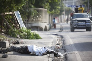 David Levene in Haiti: A body lies by the side of the road awaiting collection