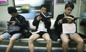 Activists on a 'No Pants subway ride'  to promote a low-carbon lifestyle in Guangzhou, China.