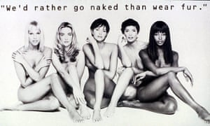 Nude Supermodels in Anti Fur Campaign Poster for Peta - 1994