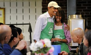 Barack and Malia Obama at a volunteer work project in Washington
