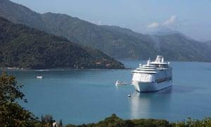 Royal Caribbean cruise ship anchored off the coast of Labadee, Haiti