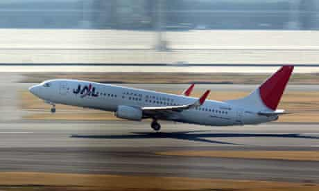 A Japan Airlines passenger plane takes off at Tokyo International Airport.