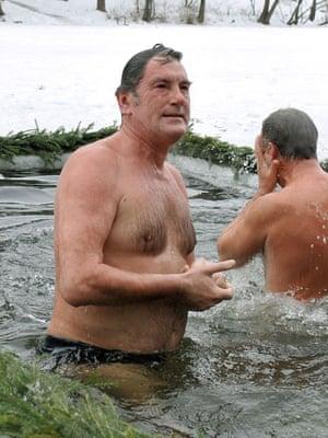 Epiphany: Ukrainian President Viktor Yushchenko celebrates Epiphany
