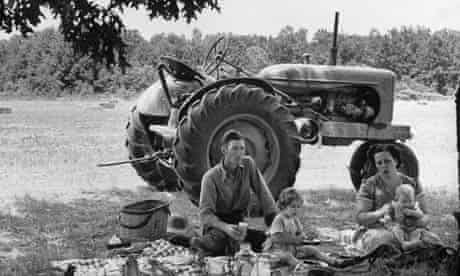 Farmer having a picnic with his family