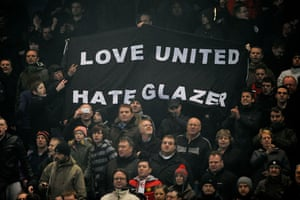 City v United: United fans display their opinion of their club's owner Malcolm Glazer