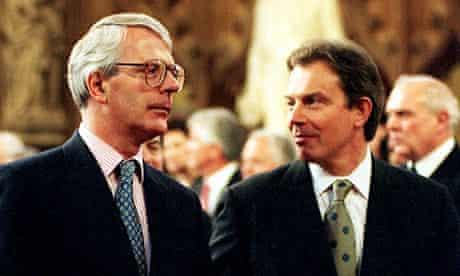 John Major and Tony Blair at parliament in 1997