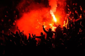 City v United: United fans light flares