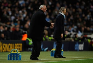 City v United: Fergie urges on his team whilst Mancini seems happy with his