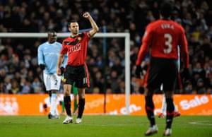 City v United: Ryan Giggs celebrates opening the scoring