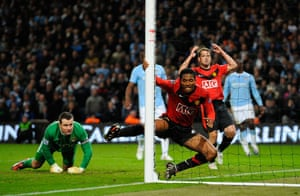 City v United: Valencia blazes the ball high and wide from less than a yard out