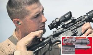 A US marine checks his M-4 service rifle with Trijicon gunsight (inset) bearing the code JN8:12