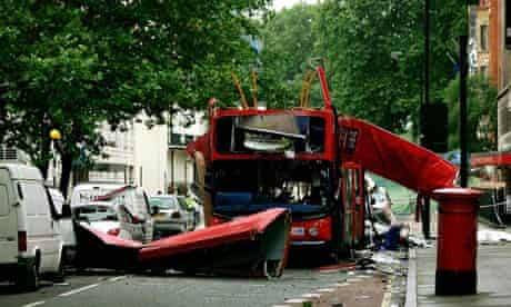 Number 30 double-decker bus destroyed by bomb in Tavistock Square, 2005