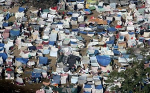 Aerial views of Haiti: A tent city outside in Port-au-Prince