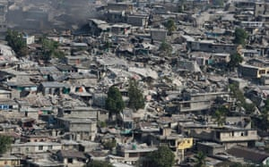 Aerial views of Haiti: Collapsed buildings in Port-au-Prince