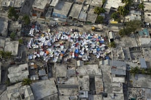 Aerial views of Haiti: Makeshift tents in Port-au-Prince, Haiti
