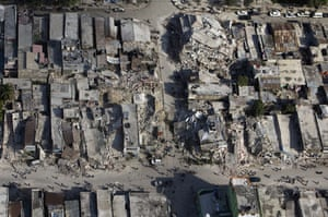 Aerial views of Haiti: Damaged buidlings in downtown Port-au-Prince