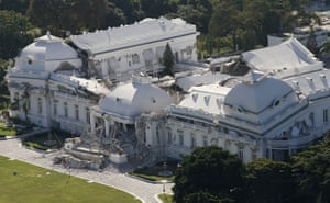 Aerial views of Haiti: The damaged Presidential Palace in downtown Port-au-Prince